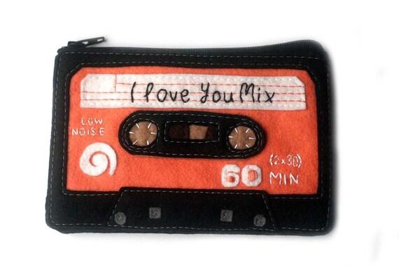 I Love You Mixtape Cassette Tape Zippered Pouch Zip Wallet Coin Purse