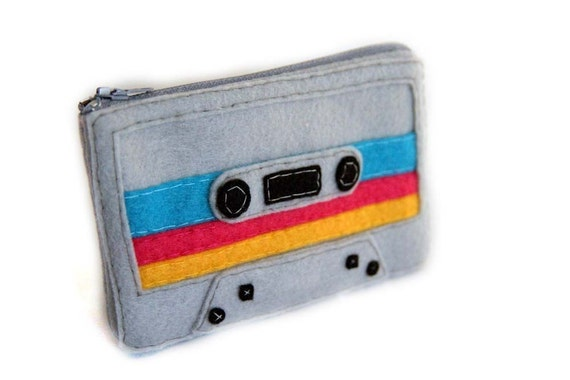 Mix Tape Pouch - Grey with Peacock Blue, Pink and Gold Stripes