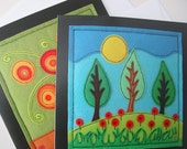 2 x printed greetings cards - Flowers in a Vase and Secret Landscape