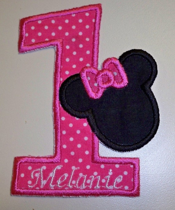 Personalized Hot Pink Number 1 With Minnie By