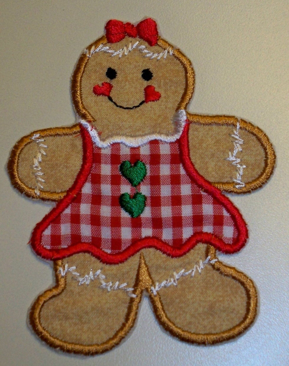 Gingerbread girl Christmas iron on applique patch red gingham dress