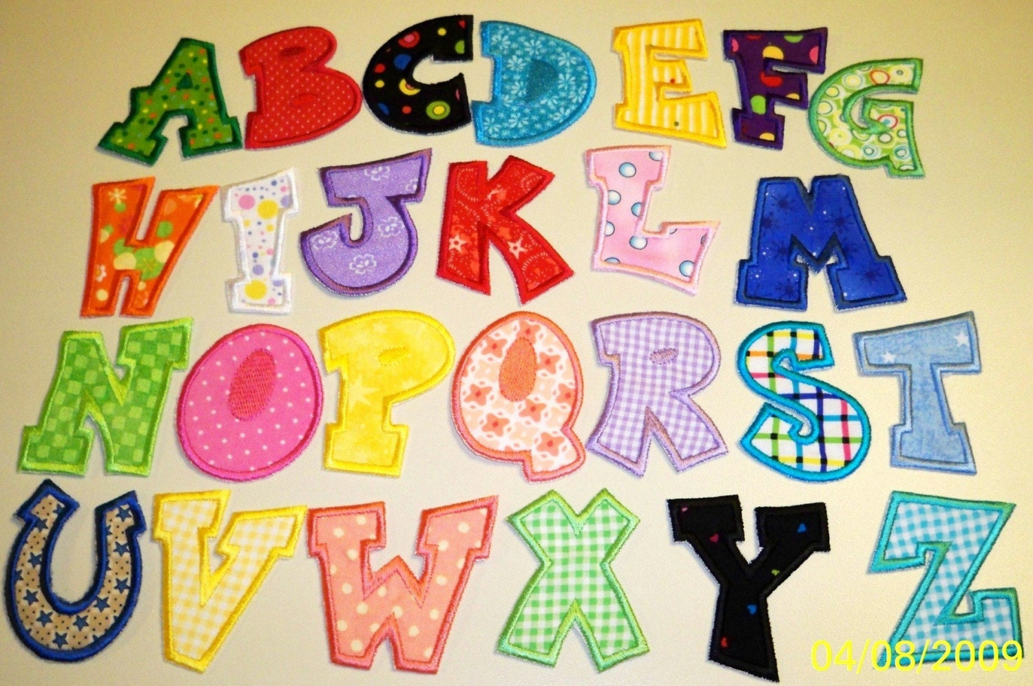 Fun alphabet letters a thru z applique by uniqueembroideries4u for Fabric letter templates