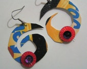 TRASHION Metro Card Spiral Earrings by Miggipyn