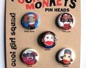 5 Sock Monkey Pins --feat. vintage red heel monkeys-- COOL GIRLS SQUAD