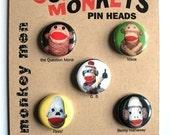 5 Sock Monkey Pins --vintage red heel monkeys-- MONKEY MEN button set