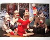 Sock Monkey Postcard 5 pack Break Dancing Sock Monkey B-Boy