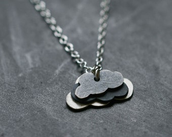 Cloud Cluster Necklace in Sterling Silver on Slim Chain