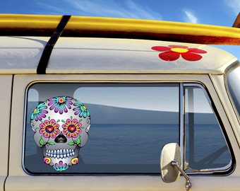 Car Decal Sugar Skull - Dia de los Muertos  - Day of the Dead Vinyl Sticker