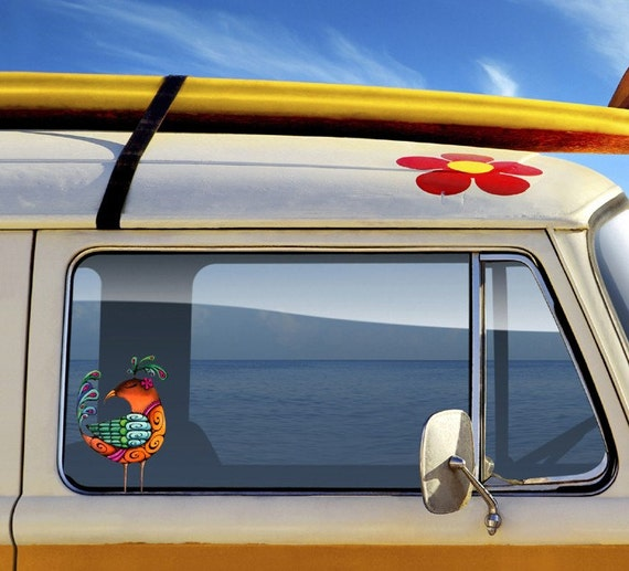 Colorful Bird Vinyl Car Decal Sticker  Made in Hawaii