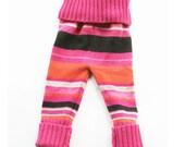 Fuchsia Striped Wool Longies Pants Size 18 Months
