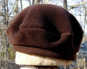 CHOCOLATE BROWN FLEECE BERET POLARTEC 300  HATS MADE IN MICHIGAN AND SOLD AT THE ANN ARBOR FARMERS MARKET IN HISTORIC KERRYTOWN DISTRICT