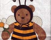 CLEARANCE Fabric Panel- Honey Bee Bear- make a great gift yourself