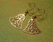 Gold Christmas Bell Earrings