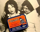 1940s Vintage FIXACO tiny throat lozenge tin, new-old stock metal tin, never used
