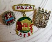 Vintage Russian Travel pinbacks - soviet union collectible, metal enamel pins, cccp, communist propaganda