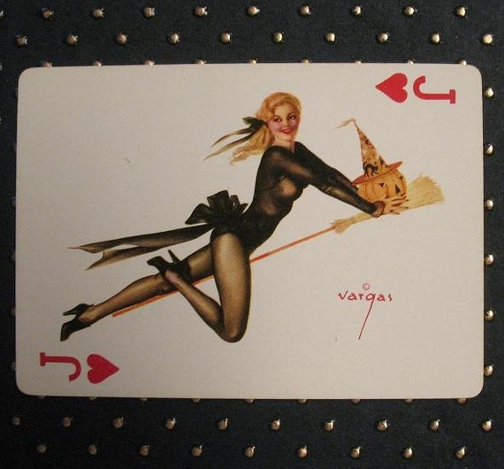 1940S Vargas Girl Pinup Playing Card Jack Of Hearts Sexy-4058