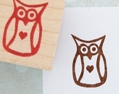 Owl w\/ Heart Rubber Stamp