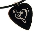 Music Heart Guitar Pick Necklace, black