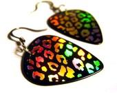 black leopard print guitar pick earrings, gold foil stamped