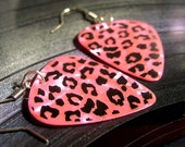 pink leopard print guitar pick earrings, black foil stamped