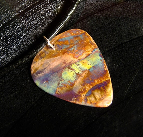 rock n roll metal guitar pick necklace - perfect storm
