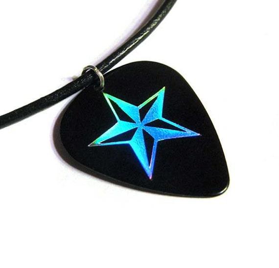 black silver nautical star guitar pick necklace hot foil stamped. Black Bedroom Furniture Sets. Home Design Ideas