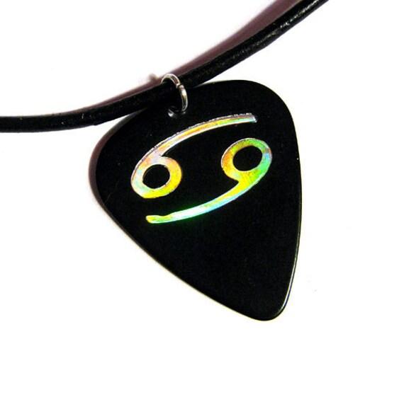 Cancer sign guitar pick necklace, black & silver, hot foil stamped