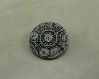 "1 5/8"" Antique Silver Gear Steampunk Button    D31"