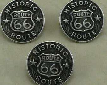 Large Historical Route 66 Antique Silver Button Buttons - Americana Hot Rod Motorcycle Biker - A26