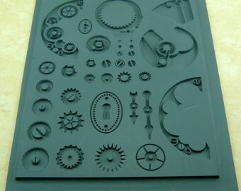 INNIE Lisa Pavelka Rubber Stamp Steampunk Watch and Gear Texture Mat  27250
