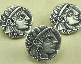 Julius Caesar Coin Buttons - Greco Roman Rome Coin Replica Button - Silver Pewter Colored Metal - A19