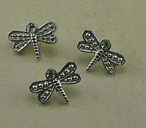 Silver Rhinestone Dragonfly Buttons E21