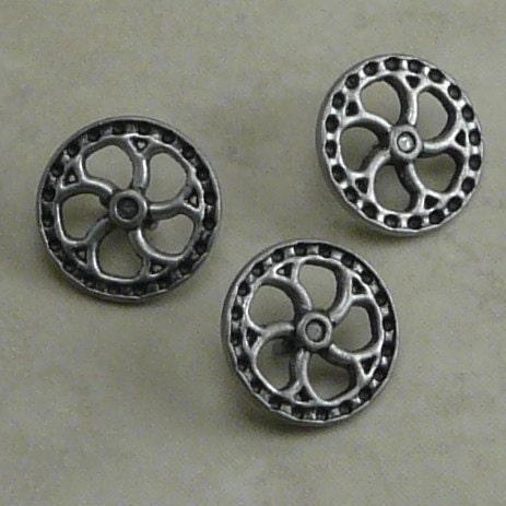 Steampunk Fly Wheel Flywheel Button - Small Antique Silver - Gear Sprocket Wheel - D6