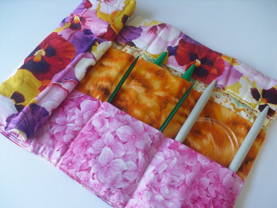 FINAL SALE -- Circular Knitting Needle Case - Pansies in Full Bloom