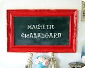 Large RED Vintage Framed Magnetic Chalkboard Memo Board