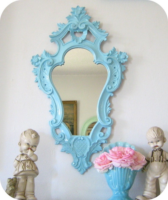 Upcycled ornate baroque mirror aqua by shabbyvintagemom on for Plastic baroque mirror