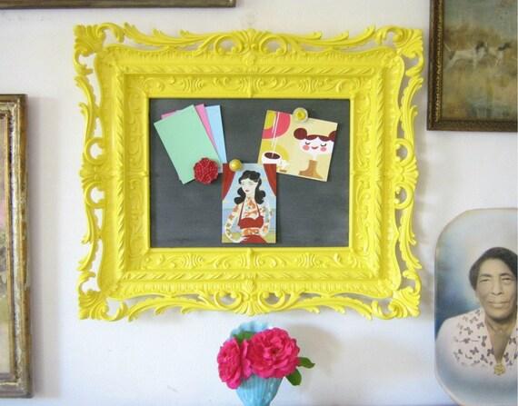 SALE Chalkboard Magnetic Memo Board Fancy Ornate Frame Sunshine Yellow