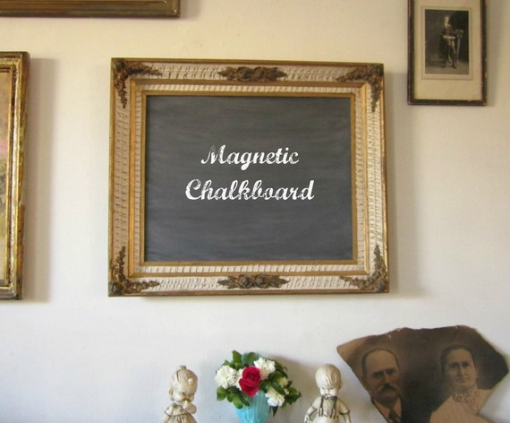 RESERVED for jcrewpnay SALE 20% Off Chalkboard, Magnetic Chalkboard,  Blackboard, Memo Board, Ornate French Country Roses 21 x 25