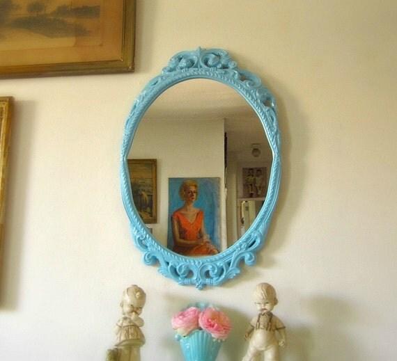 SALE Ornate Vintage Oval Mirror Upcycled AQUA Blue