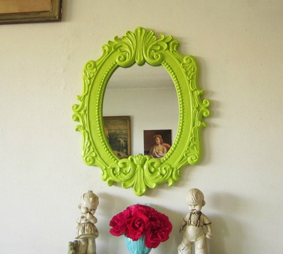 Upcycled Chunky Ornate Mirror Hollywood Regency Baroque Style Key Lime Green