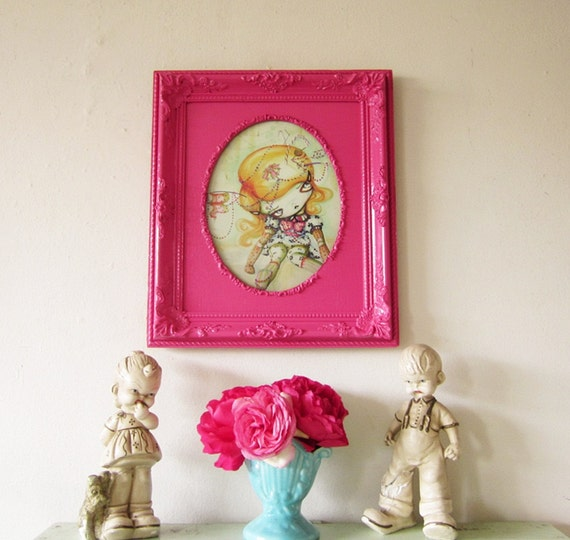 Ornate Vintage Picture Frame for 8 x 10 Artwork or Photo Upcycled Magenta Hot Pink