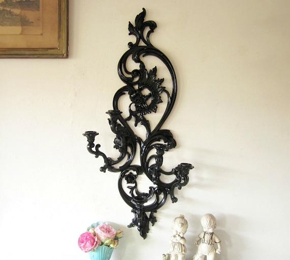 Large Ornate Vintage Candle Holder Five Arm Sconce Syroco Upcycled Black