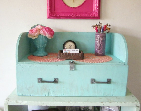 Upcycled Vintage Wood Toolbox One Drawer Storage Shelf Aqua