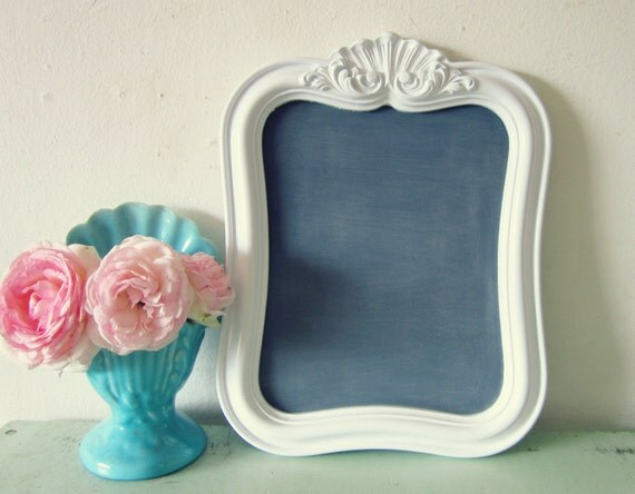 Fancy Vintage Frame turned Magnetic Chalkboard Memo Board Wedding WHITE 10 x 12