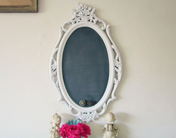 Chalkboard, Magnetic Chalkboard, Memo Board, Ornate Syroco Frame Upcycled WHITE