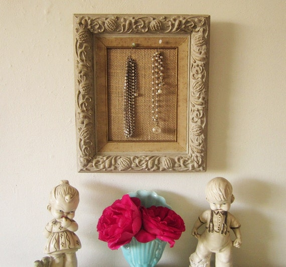 Vintage Framed Cork Pin Board Jewelry Display French Country