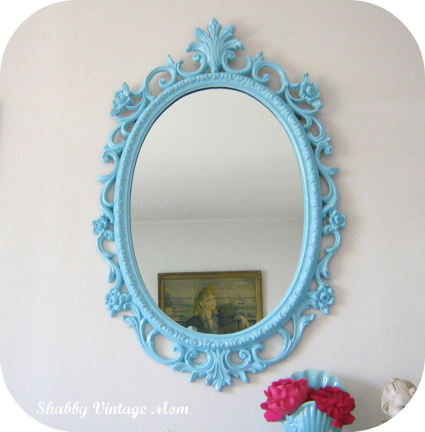 Upcycled ornate syroco aqua mirror for Old style mirror