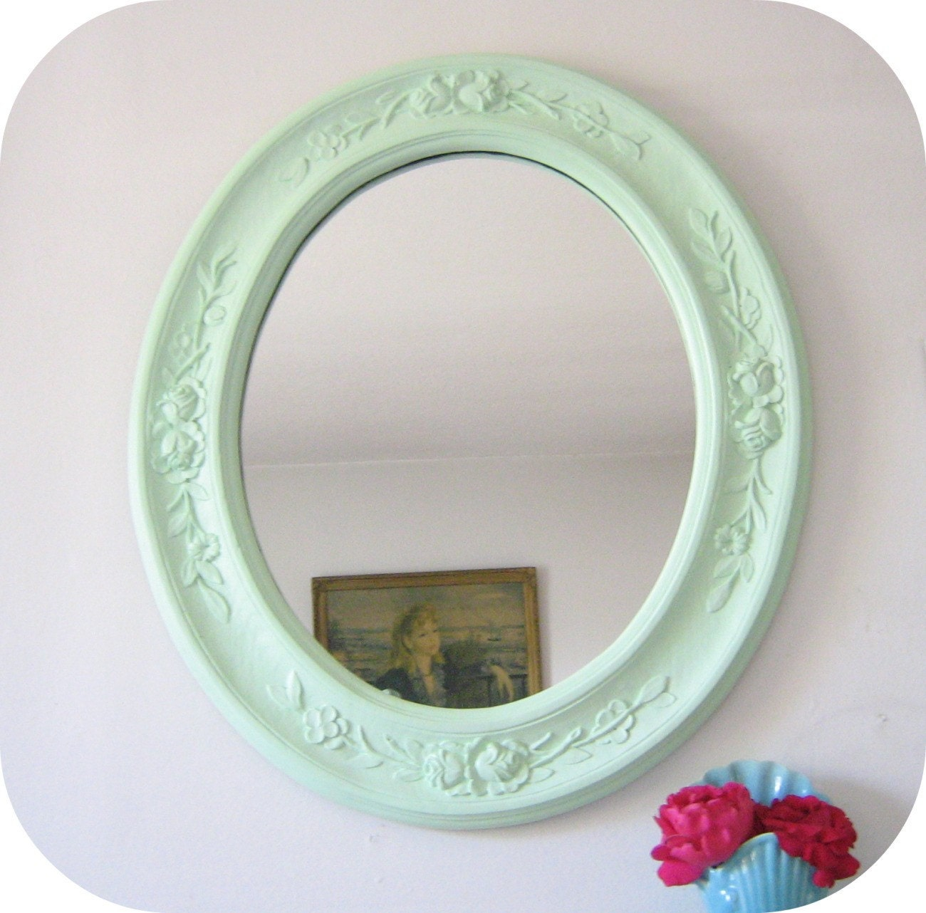 Mint Green Bedroom Accessories Large Wall Mirror Cottage Roses Mint Green Wall Decor