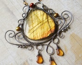 The Spirit of the Greenwood - Green Amber Labradorite Necklace