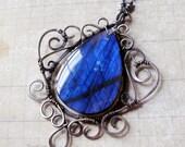 Ratri - Ornate Cobalt Blue Labradorite Necklace in Sterling Silver